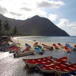 Fischerboote im Hafen Chuao, Nachbarstrand Puerto Colombias, Venezuela